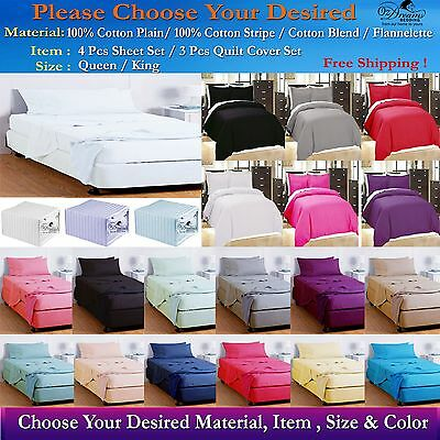 Queen & King Size Cotton Sheet Set, Quilt Cover, Fitted Set & Flannel Sheet Sets