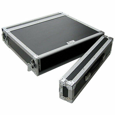"Flightcase 2HE 19"" Rackschienen v+h max.Tiefe 41cm 7mm Multiplex RACK CASE Profi"