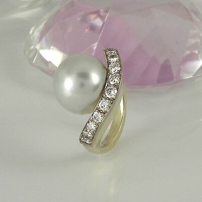 Ring 585/- Gelbgold 12 Diamanten ca 1,20 ct  TopWesselton + Südseeperle Gr. 54