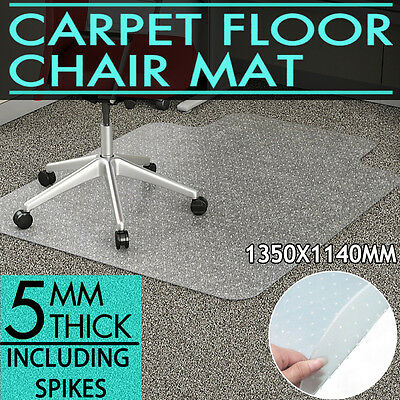 1200 x 900mm Carpet Floor Office Computer Protector Work Chair Mat Plastic OZ