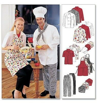 PATTERN McCALLS Chef's Uniform Hat Cook's Apron Pants SEWING M XXL 2233