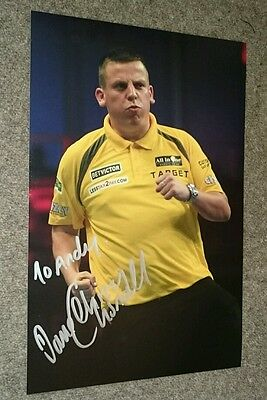"""Dave chisnall signed and dedicated """"To Andy"""" 12x8"""" darts photo / photo proof COA"""