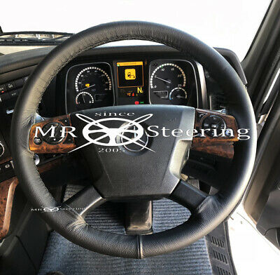 Fits Mercedes Actros New 4 Truck 2012+ Real Black Leather Steering Wheel Cover