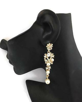 Baroque Bridal Diamante Drop Earrings with Faux Pearls in Gold Tone UK SELLER