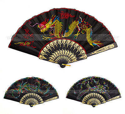 Asian Dragon Phenix Peacock Embroidery Cloth Fabric Plastic Folding Hand Fan