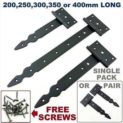 Pair (2pc) Tee Hinges Black Decorative Heavy Duty Strap T Hinge Door Gate Shed