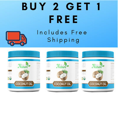 3 x 1 Litre Extra Virgin Coconut Oil, 100% Certfied Organic Raw & Cold Pressed