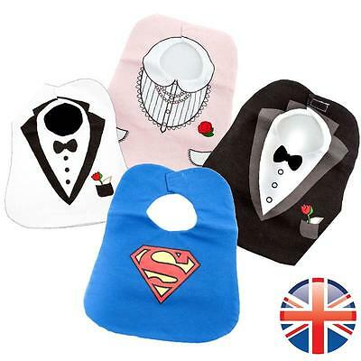 *UK Seller* Baby Stylish Tuxedo Bib Superman Bow Tie Feeding Black White