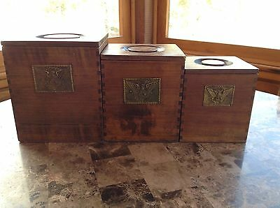 Vintage Americana Brass Eagle Brown Wooden Nesting Canisters