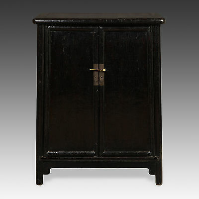 Antique Chinese Qing Dynasty Shanxi Lacquered Round Cornered A-Frame Cabinet