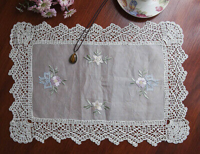 Real Silk Fabric Handcraft Bifacial Embroidery Placemat Rectangle 34x49CM Beige