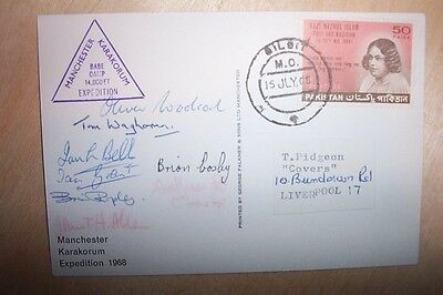 RARE 1968 MANCHESTER KARAKORUM EXPEDITION POSTCARD SIGNED ENTIRE TEAM of EIGHT