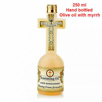 Cross Shaped Bottle From Jerusalem Blessed Scented Oilve Oil With Myrrh + Gift