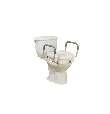 Elevated Raised Toilet Seat Riser with Arms - 5 Inch White 300 lbs
