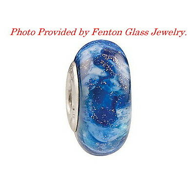 Arctic Frost Glass Bead By Fenton Glass Jewelry, Made in USA
