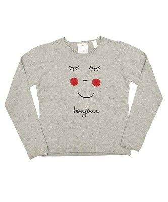 BNWOT Girls Light Grey Bonjour Cute Face Jumper  Age Range 4 - 8 Years