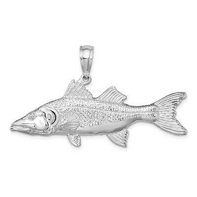 925 Sterling Silver Nautical Charm Pendant,  3D Snook Fish