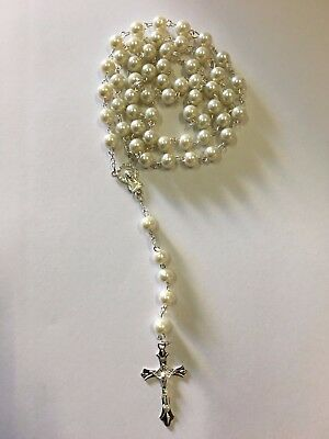 NEW White Plastic Larger Rosary Round Beads Silver Necklace/crucifix in Gift Box