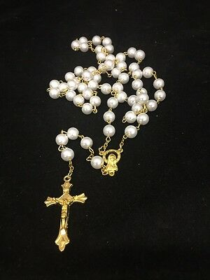 NEW White Plastic Larger Rosary Round Beads GOLD Necklace/crucifix in Gift Box