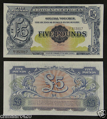 British United Kingdom Armed Forces Note 5 Pounds 2nd Series 1948 UNC