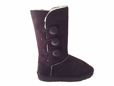 Ugg Boots 3 Buttons Synthetic Wool Colour Chocolate Size 7 Lady's