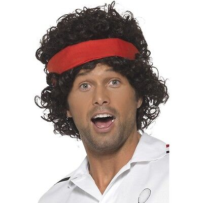 Mens Eighties Tennis Player Wig Headband John Fancy Dress McEnroe Costume Sport