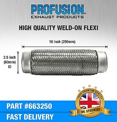 """Weld On 2.5"""" X 10"""" inch Exhaust Flexible Joint Repair Flexi Pipe tube Flex"""