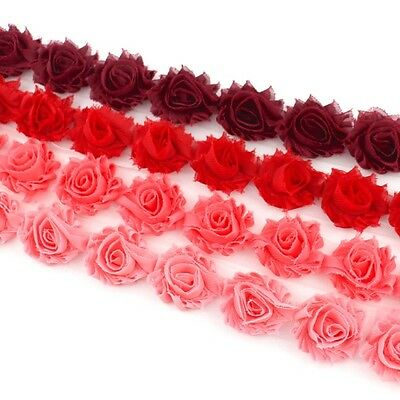 14 Mini Shabby Chiffon flower trim pink/coral/red/maroon -millinery, hair, craft