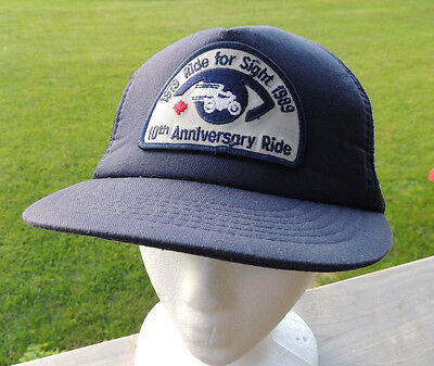 Vintage 1989 Motorcycle Motorbike Ride For Sight Ball Cap Hat