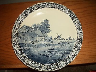 """Vintage Delfts Boch 15 1/2"""" Wall Plate Dutch Homestead SIGNED LOWER RIGHT CORNER"""