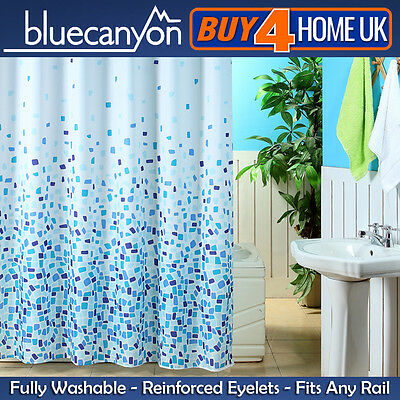Blue Canyon Blue Mosaic POLYESTER Shower Curtain With 12 Hooks 180cm x 180cm