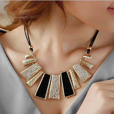 Fashion Crystal Rhinestone Pendant Jewelry Statement Bib Women Collar Necklace A