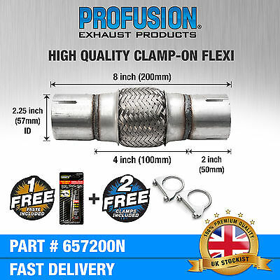 """Clamp On 2.25"""" x 8"""" inch Exhaust Flexible Joint Repair Flexi Pipe tube Flex"""