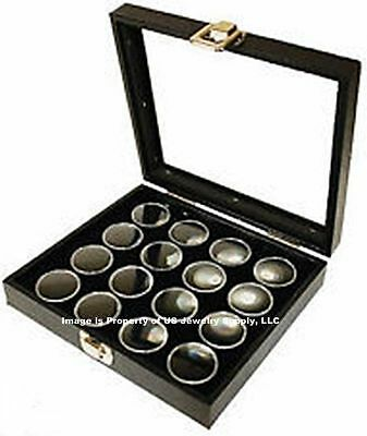 6 Glass Top Lid Black 16 Jar Box Cases Display Gems Body Jewelry Gold Nuggets