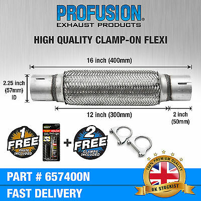 """Clamp On 2.25"""" x 16 inch Exhaust Flexible Joint Repair Flexi Pipe tube Flex"""