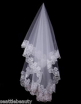 Pretty 1T White Lace Floral Edge Wedding Bridal Veil Elbow Length without Comb