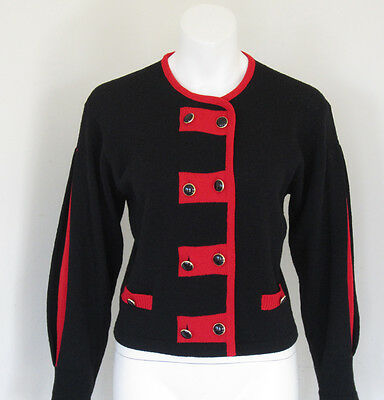 Vintage Clothing 80's Black & Red Color Block Knit Cardigan Sweater S