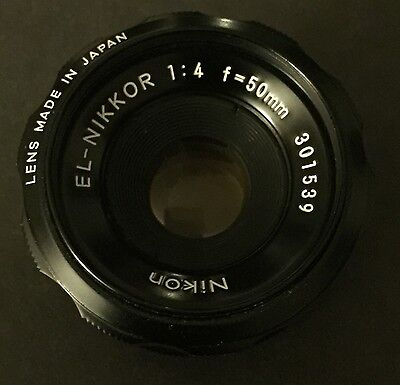 Nikon El Nikkor Enlarger Lens  50mm F4 301539 With Flange