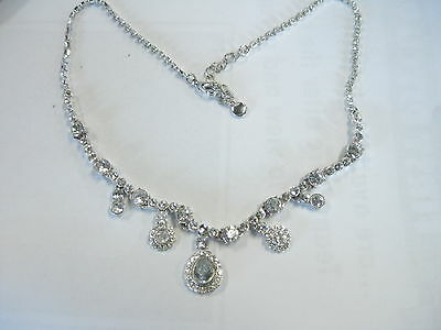 "Vintage Art Deco Liz Claiborne 16+"" Rhinestone Necklace and Pierced Earrings"