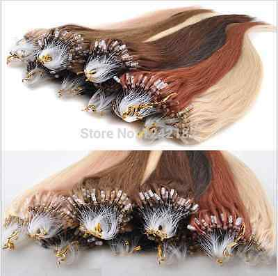"""50s 18""""20""""22""""24""""26"""" Micro Ring Loop Beads Tipped Remy Human Hair Extensions"""