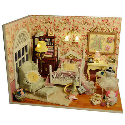 Wooden Miniature dollhouse Doll house furniture DIY Kit - Living Room/English
