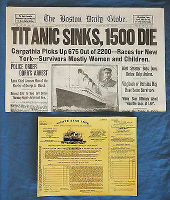 1912 Titanic Boston Daily Globe Newspaper + 3rd Class Ticket RP Historic Sinking