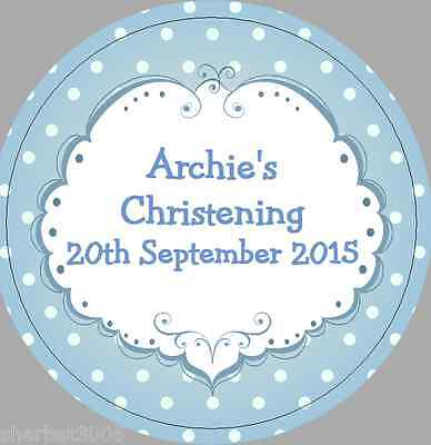 24 x 40mm Personalised Stickers Round Christening Blue Frame Spots Labels Seals