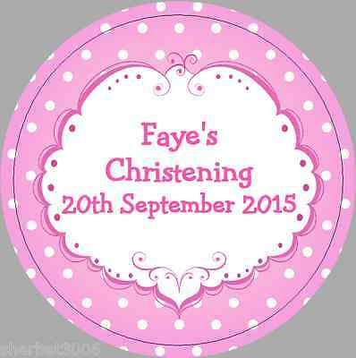 24 x 40mm Personalised Stickers Round Christening Pink Frame Spots Labels Seals