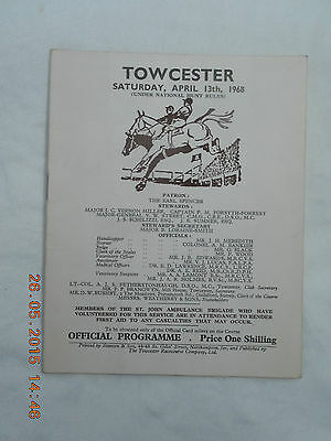 Towcester Races, Saturday 13Th April 1968  Race Card