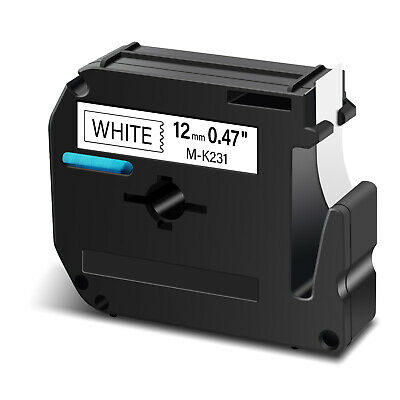 "1 PK Label Tape M-K231 MK231 Black on White 1/2"" Compatible for Brother P-touch"