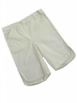 BNWOT Girls Ex John Lewis Cream Cotton Cropped Trousers Ages 0-3 m & 6-9 m only