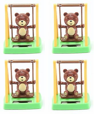 4 Pack Happy Bears on The Swing Solar Power Toys Office Home Decor Birthday Gift