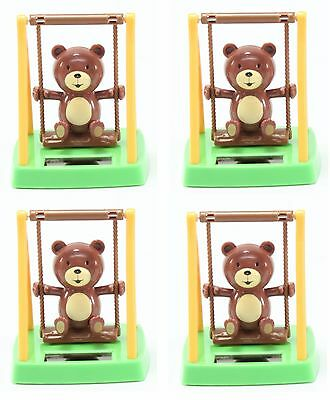 Set of 4 ~ Adorable Swinging Bear Solar Toy Home Decor Birthday Gift US Seller