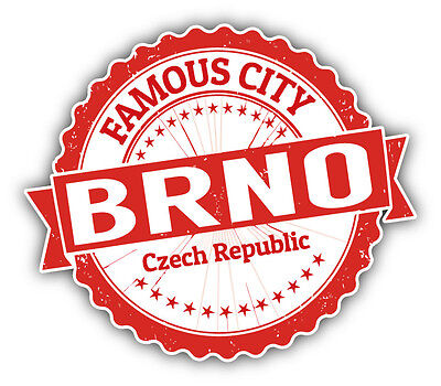 "Brno City Czech Republic Grunge Travel Stamp Car Bumper Sticker Decal 5"" x 4"""